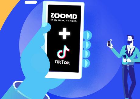 Zoomd and Tiktok logo in mockup phone