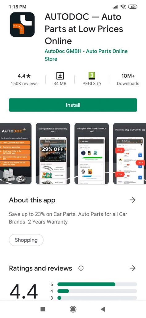 Autodoc on the PlayStore